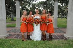 Orange dresses with cowboy boots.. love this length of dress!