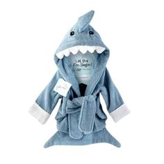 Blue Shark Hooded Baby Bath Robe - Little TroubleMakers