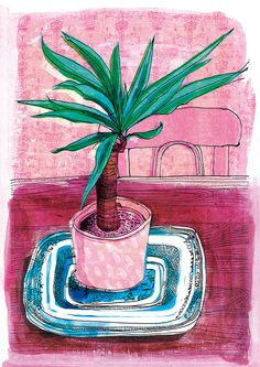 Little Palm Archival Art Print house plant by lovelysweetwilliam