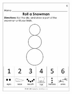 Check out this roll a snowman & dice for Preschool & Kindergarten math! This has a Valentine one attached, too. Kindergarten Math Worksheets, Preschool Kindergarten, Preschool Learning, Teaching Math, Winter Activities, Math Activities, Seasons Activities, Math Resources, 2 Kind
