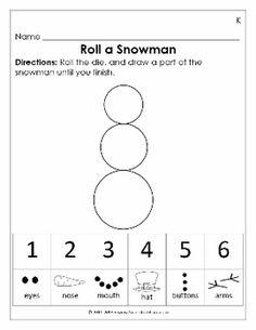FREEBIE - Roll a Snowman Math Activity for Preschool - www.nicoleandeliceo.com/shop.html