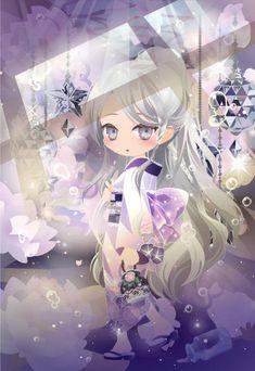 @trade | フラワリーグラスアイズ 紫眼 Anime Girl Neko, Anime Chibi, Kawaii Chibi, Kawaii Anime, Manga, Chibi Characters, Cocoppa Play, Star Girl, Anime Hair