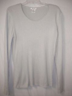 blushe Impressions Size XL Gray Silk Blend Long Sleeve Ribbed Women Sweater #BlusheImpressions #Sweater #Versatile