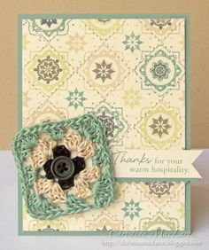 Love the granny square crocheted out of embroidery thread.  @Wendy Felts Felts Felts Beaudry check it out!