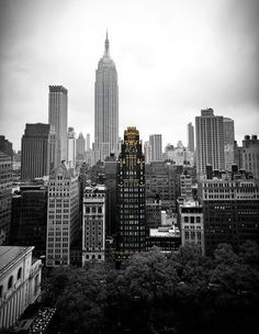The American Radiator Building, Bryant Park, and the Empire State Building.
