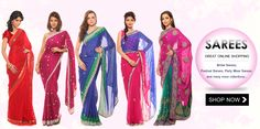 GREAT ONLINE SHOPPING  Bridal Sarees, Festival Sarees, Party Wear Sarees and many more collections... Watch 4 more collection on www.grabbito.com