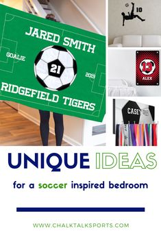 Give the gift of soccer room décor - throw pillows, customized room signs and frames, medal/accessory hangers. Unique gifts for soccer players and fans. Soccer Room Decor, Soccer Bedroom, Football Is Life, Room Signs, Soccer Players, Decorative Throw Pillows, Numbers, Birthdays, Check
