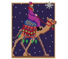 The Wise Man by Sigrid Wynne-Evans Peyote Patterns, Bead Patterns, Peyote Beading, Beadwork, Christmas Charts, Beaded Banners, C2c Crochet, Beaded Christmas Ornaments, Angel Pictures