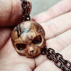 Customized Skull Necklace Juglans Nigra, Skull Necklace
