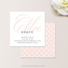 Grace Square Makeup Artist or Cosmetologist Business Card / Calling Card / Mommy Card / Contact Card - Modern Business Cards, Calling Cards