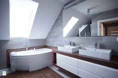 Bliźniak w Gruszczynie - Średnia łazienka na poddaszu w domu jednorodzinnym z oknem, styl nowoczesny - zdjęcie od Norbert Perliński