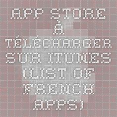 App Store à télécharger sur iTunes (list of French apps)