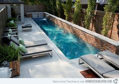 If we had a pool, it would be like this. Fantastic Small Backyard Swimming Pool Gives Peaceful Atmosphere : Modern Backyard Design Small Backyard Swimming Pool Lounge Enclose Patio Modern Backyard Design, Small Backyard Design, Small Backyard Pools, Backyard Pool Designs, Patio Design, Backyard Patio, Outdoor Pool, Small Backyards, Garden Design