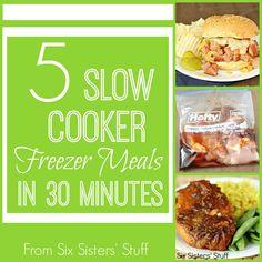 5 Slow Cooker Freezer Meals in 30 minutes