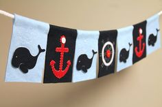 Nautical felt party banner or room decoration by TaffieWishes, $42.00
