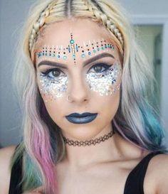 mermaid hair. makeup. rainbow summer hair.