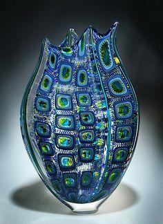 Turquise & Lime Foglio: David Patchen: Art Glass Vessel - STUDIO SALE - Artful Home