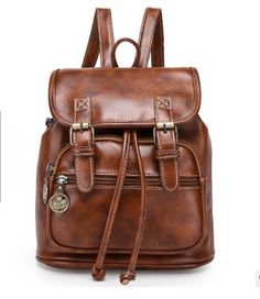 8fe3d523ff3d Vintage Women s Small Faux Leather Backpack Rucksack Travel Casual Satchel  Bag-in Backpacks from Luggage   Bags on Aliexpress.com