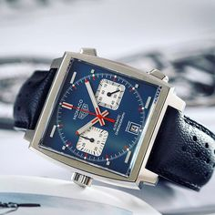 It's a big year for the Monaco- 50 years. Monaco Calibre 11 by Sport Watches, Cool Watches, Left Handed Watch, Tag Heuer Monaco, Expensive Watches, Luxury Watches For Men, Quartz Watch, Fashion Watches, Omega Watch