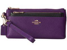 COACH Embossed Txt Leather Zip Wallet w/ Popup