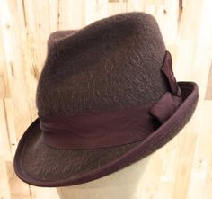 1bf29ef8fc0f1 Items similar to long hair rabbit fur women s fedora hat. taupe brown with  burgundy ribbon on Etsy
