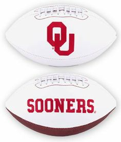 NCAA Oklahoma Sooners Signature Full Size Football by Licensed Products. $16.81. 3 smooth white panels for autographs.. Comes with an autograph pen.. Oklahoma Sooners embroidered team logo displayed on front and school wordmark on back.. This collegiate classic team football features an embroidered team logo prominently displayed on the front and the school wordmark on the back.  An autograph pen is included with each ball and the 3 smooth white panels provide am...