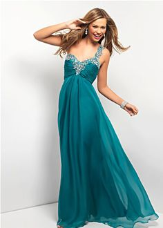 teal one shoulder gown - Blush Prom 9373
