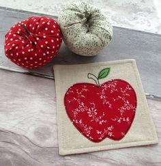Red Apple Coaster - Thank You Teacher Gift - Fabric Coaster £6.50
