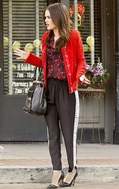 Rachel Bilson wearing Alice +Olivia Dina Lizard Pumps Parker Grayson Combo Pant A.L.C. Mackay Print Silk Top IRO Agnette distressed boucle-tweed jacket