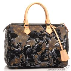 3d6ce50ec2 Details about Louis Vuitton FLEUR DE JAIS Monogram Brown Canvas Speedy  Black Sequin Handbag. eBay
