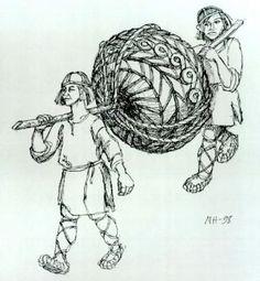 """Ilmarinen and Lemminkäinen carrying Sampo"" by Nils Hedlund"