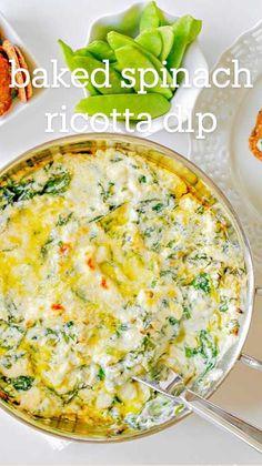 Healthy Dip Recipes, Healthy Casserole Recipes, Healthy Dips, Cooking Recipes, Snacks Recipes, Eating Healthy, Ricotta Dip, Spinach Ricotta
