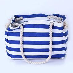 """Blue & White Striped"" Summer Canvas Bag"