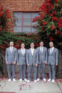 groom + groomsmen wearing Vans // photo by Alders Photography // View more: http://ruffledblog.com/industrial-los-angeles-wedding/