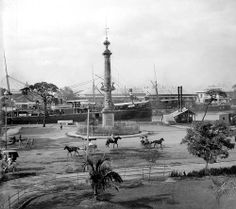 Magellan's Monument on the bank of the Pasig River, Intramuros, Manila, Philippines, early 20th century by J. Tewell