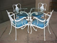 5 Piece Vintage Patio Furniture Set Ornate Wrought Iron French Country Cottage | eBay