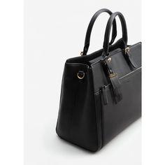 MANGO Pebbled Tote Bag (340 RON) ❤ liked on Polyvore featuring bags, handbags, tote bags, black, metallic tote, tote handbags, strap purse, metallic purse and zipper handbag