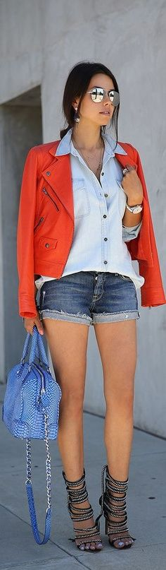 Pair a jacket with button up shirt and daisy dukes for more street cred