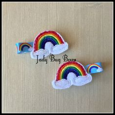 Rainbow Hair Clips, Rainbow Clips, Over The Rainbow, Colorful Hair Clips, Hair Clippys, Girls Hair Clips, No Slip Clips, Clouds and Rainbows by JadyBugBows on Etsy