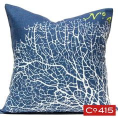 """<div>This is a perfect pillow for your beach or coastal theme decor. Corals <span class=""""st"""">are marine invertebrates</span>. They grow in beautiful natural designs.</div> <div> <ul> <li>50% Cotton / 30% Linen / 20% Viscose cover. 5% Down / 95% Feather filler.</li> <li>Hidden zipper.</li> <li>Dry clean only. Solid off-white fab..."""
