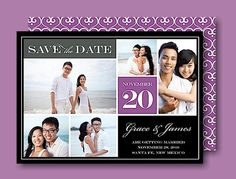 Block Purple Save the Date Card