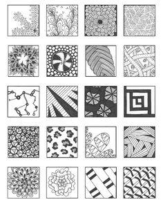 Zentangle Patterns for Beginners Sheets - Bing images Dibujos Zentangle Art, Zentangle Drawings, Doodles Zentangles, Doodle Drawings, Tangle Doodle, Zen Doodle, Doodle Art, Doodle Patterns, Zentangle Patterns