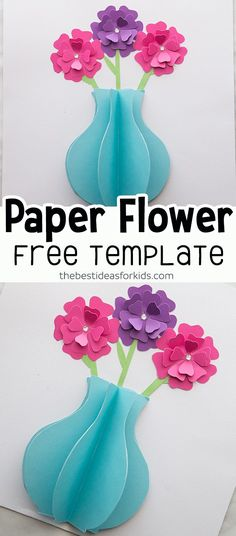 with free printable flower template. Make a vase and flowers. Such an easy paper craft for kids! This paper flower craft is really easy to make! Includes a free printable template to make paper flowers and a vase. Vase Crafts, Paper Crafts For Kids, Kid Crafts, Diy Paper, Summer Crafts, Paper Crafting, Paper Flowers For Kids, Paper Flower Vase, Flowers Vase