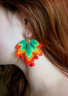 Red green clips Autumn earrings Beaded earrings Leaf earrings Seed bead earrings Modern earrings Gift for her Coral Beaded jewelry Seed Bead Jewelry, Bead Jewellery, Seed Bead Earrings, Leaf Earrings, Green Earrings, Seed Beads, Jewelry Rings, Beaded Earrings Patterns, Crochet Earrings