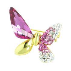 Asymmetrical Butterfly Swarovski Crystal Brooch P ($12.99)