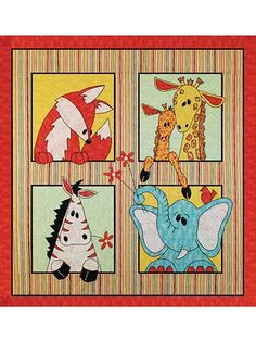 """These adorable safari animals are ready to crawl right into your child's heart!   Featuring fabrics from the Wild Things fabric collection (shown below), the large pieces and easy-to-understand instructions make this quilt fun and so easy to put together. It's also easy enough to adjust the size by simply adding more borders. The finished size is perfect for a wall hanging in any child's room: 45 1/2"""" x 45 1/2""""."""