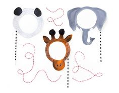 Printable animal masks - You will need: Template Chipboard or cardboard for backing Glue stick Embellishments (pom poms, gold rings, paint) Wood dowel (optional) Tape Print then paste the templates onto cardboard or chipboard if you want to make them stronger. Cut them out. Attach dowel with tape to the back of the mask.