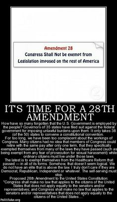 Actually this is already in the law, Congress shall pass no law that they do not  adhere to. Unfortunately they don't follow it. Any Senator or Congress member should be disbarred as well as the president and cabinet members under Obama , should have been commanded to be on Obamacare or impeached! *JGH  It's time for a 28th Amendment