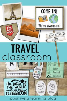 Travel around the world with this classroom decor theme! From maps to landmarks and many adventures, this theme would be perfect for multiple ages in the classroom and resource room. From Positively Learning Blog #traveltheme #travelclassroom