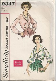 1957 Sophisticated Blouse with Long or 3/4 Sleeves by Redcurlzs, $10.00